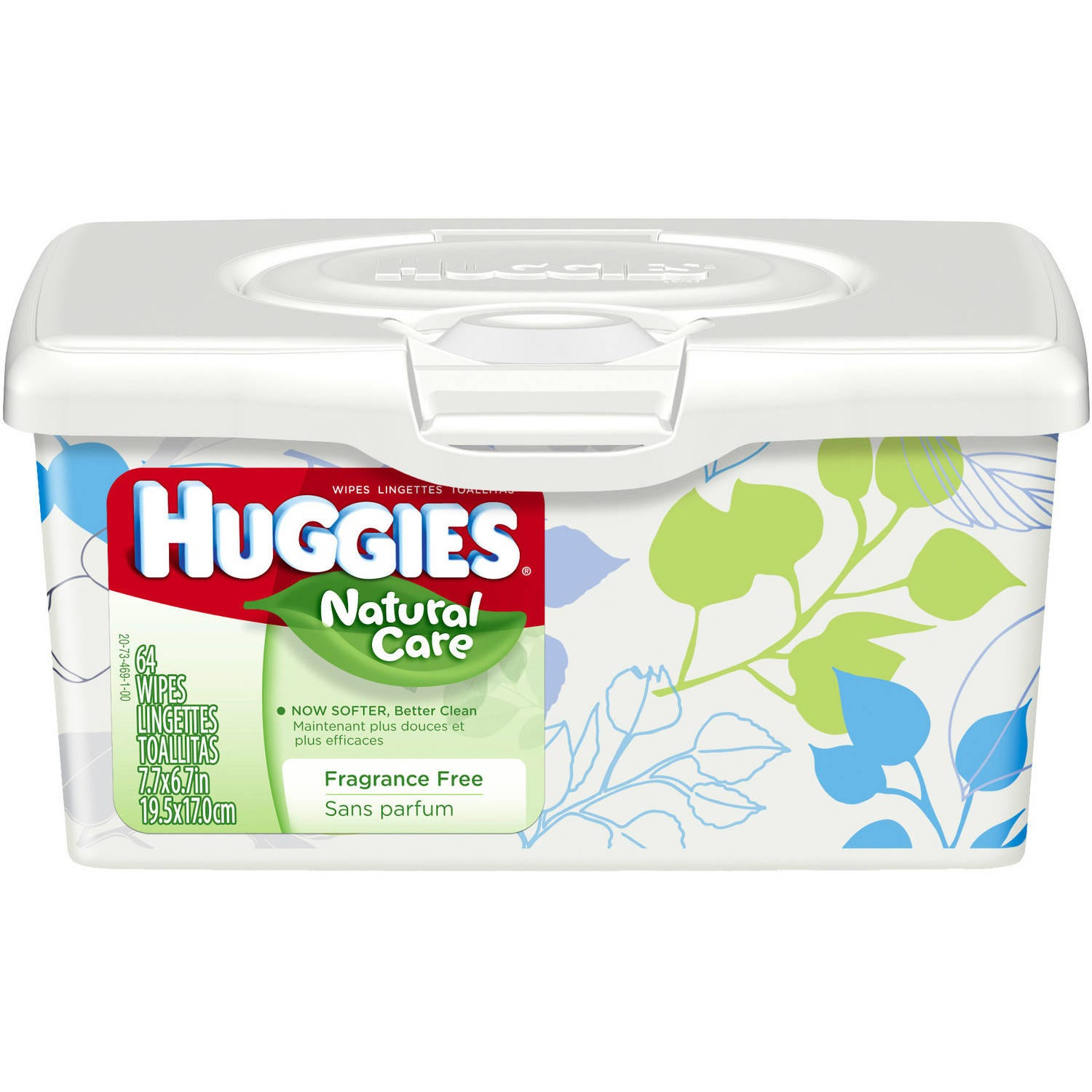 Huggies Natural Care Baby Wipes, Fragrance-Free, 64/Tub