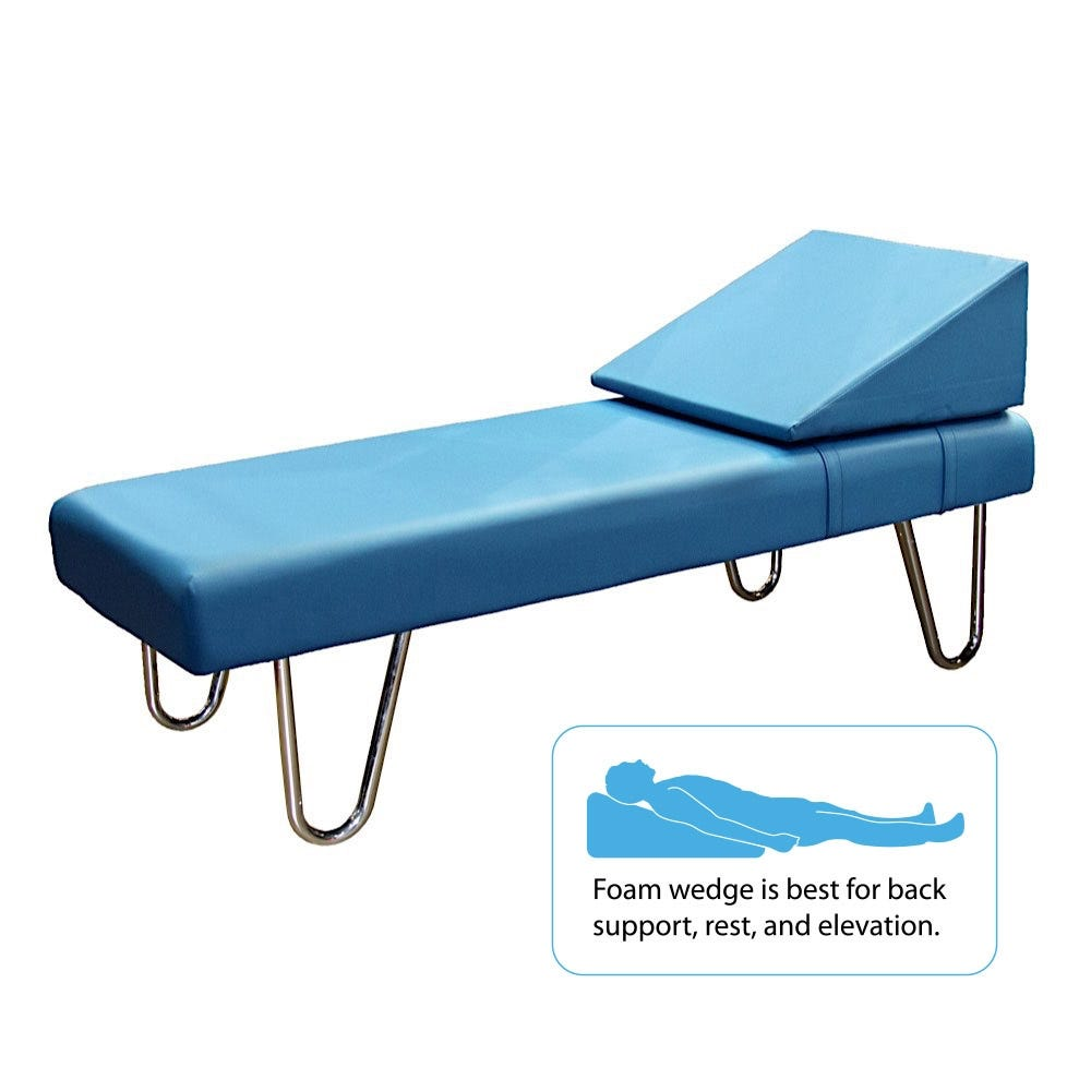 """Eco-Friendly Recovery Couch with Chrome Legs and Removable Foam Wedge Pillow 72""""L x 20""""H 26""""W"""