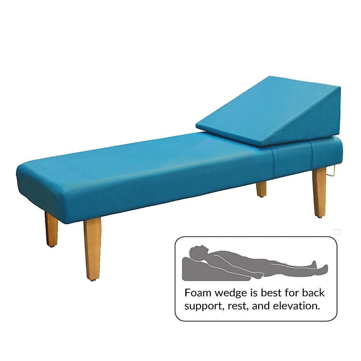 """Eco-Friendly Recovery Couch with Wooden Legs and Removable Foam Wedge 72""""L x 20""""H 26""""W"""