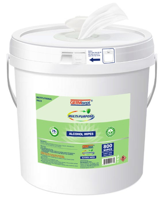 GermiSept 75% Alcohol Wipes Bucket, 800 Count