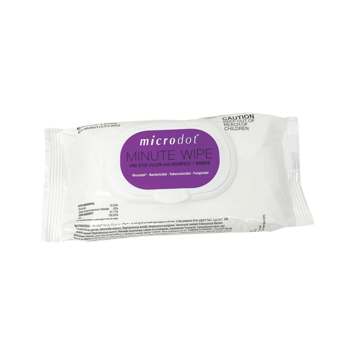 Microdot Minute Wipe Disinfectant, 60 Count Flow Pack