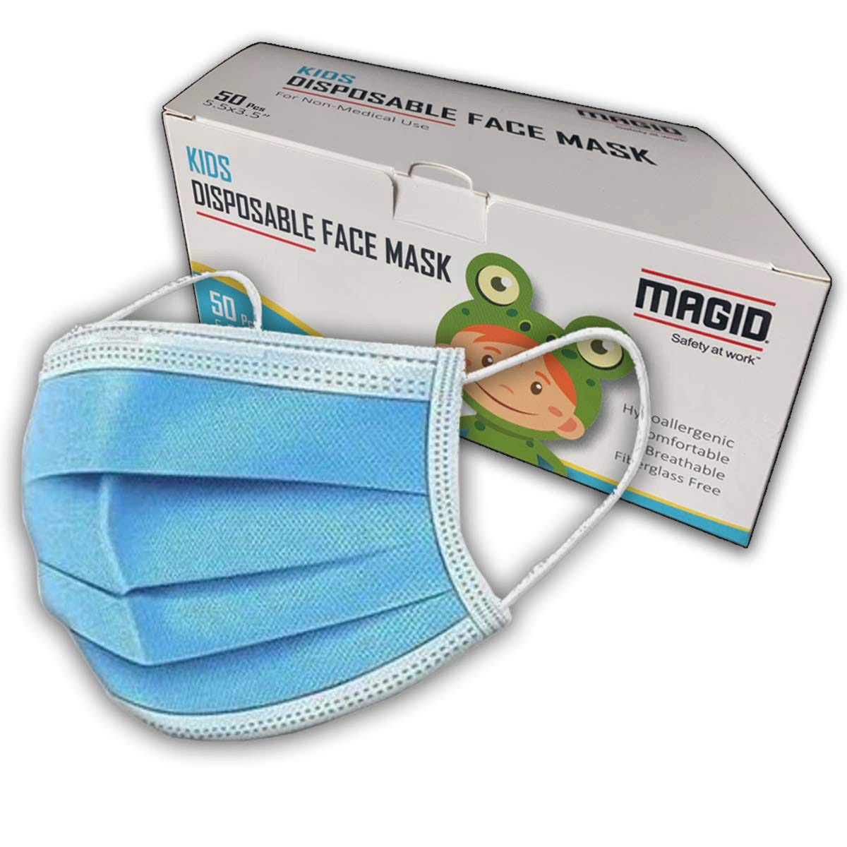 3-Ply Child Face Mask, Disposable, 50/Box