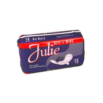 Julie Sanitary Napkins Nite Wing 10/pkg