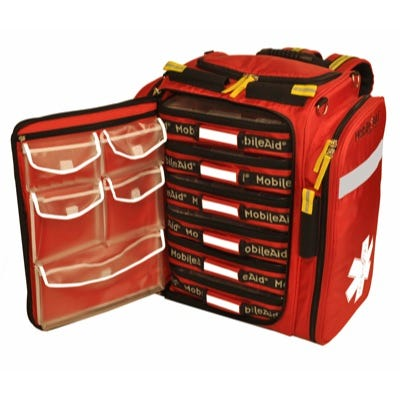 MobileAid Professional Medical Responder EMS Backpack (6 pouches & stretcher)