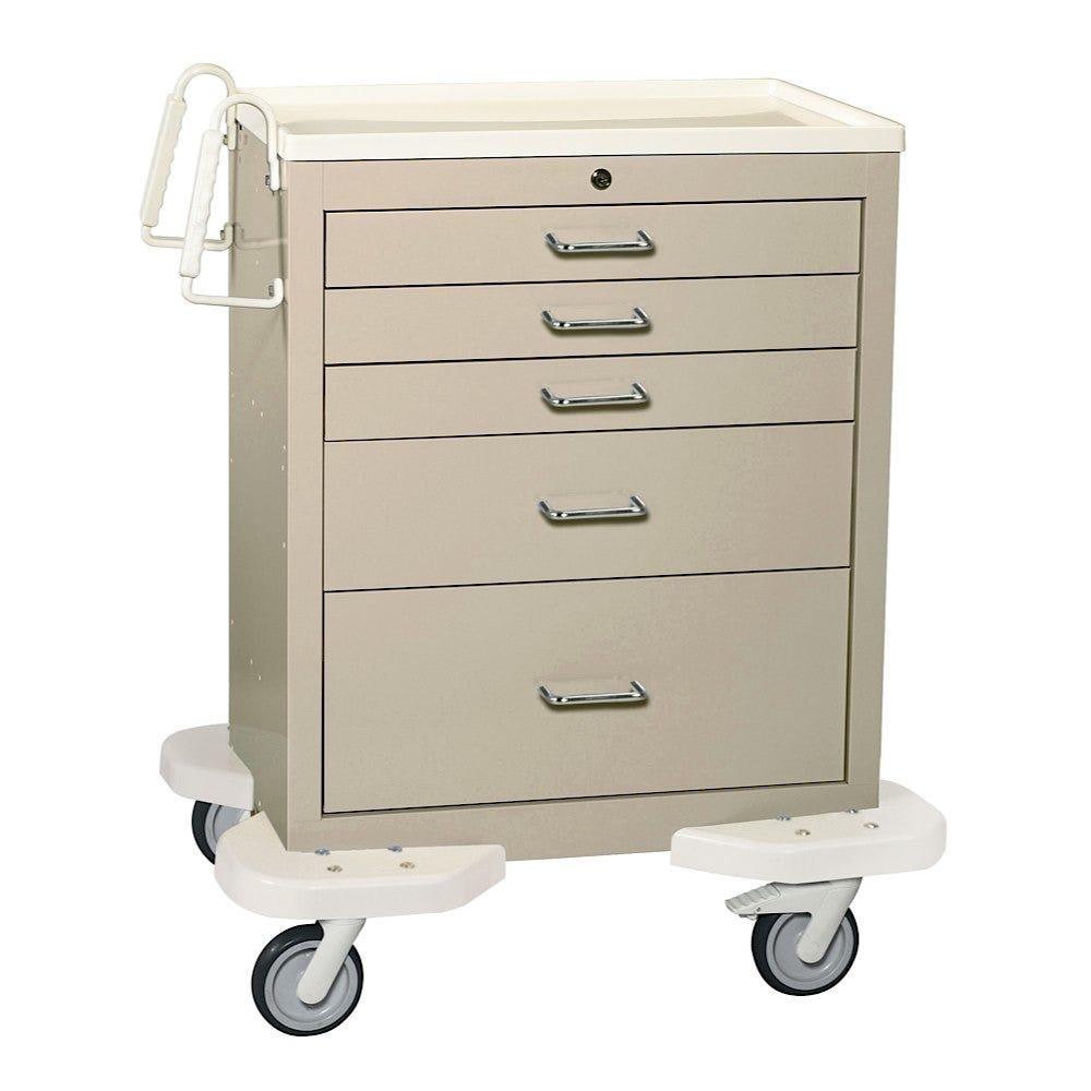 Five Drawer Medical Short Cart, Beige