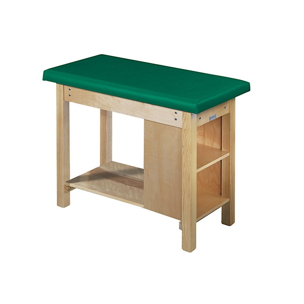"""Pediatric Table with Full-Length Shelf and 2 Fixed Storage Shelves 48""""L x 24""""W x 36""""H"""