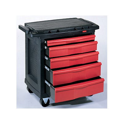 Rubbermaid Mobile Work Station, Red/Black