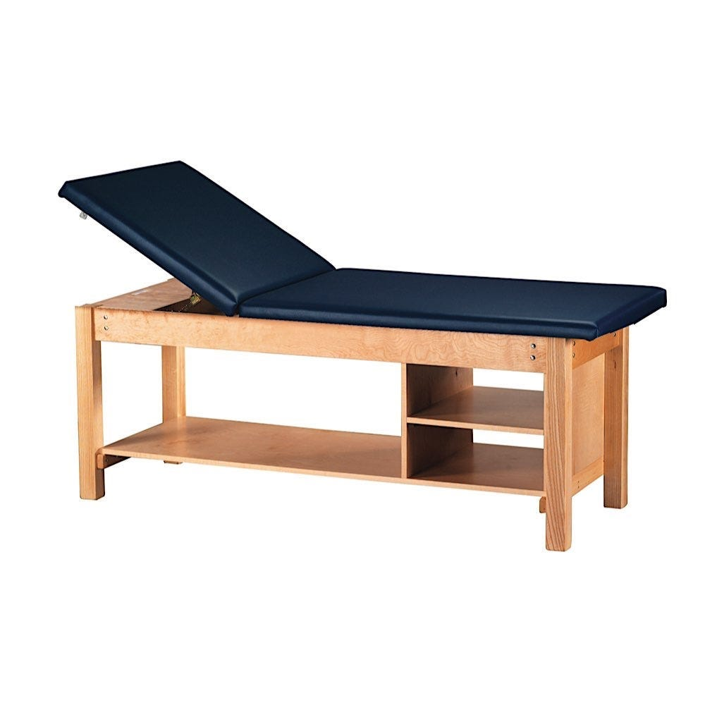 """S Professional Treatment Table 30""""W with Backrest and Two Fixed Shelves"""