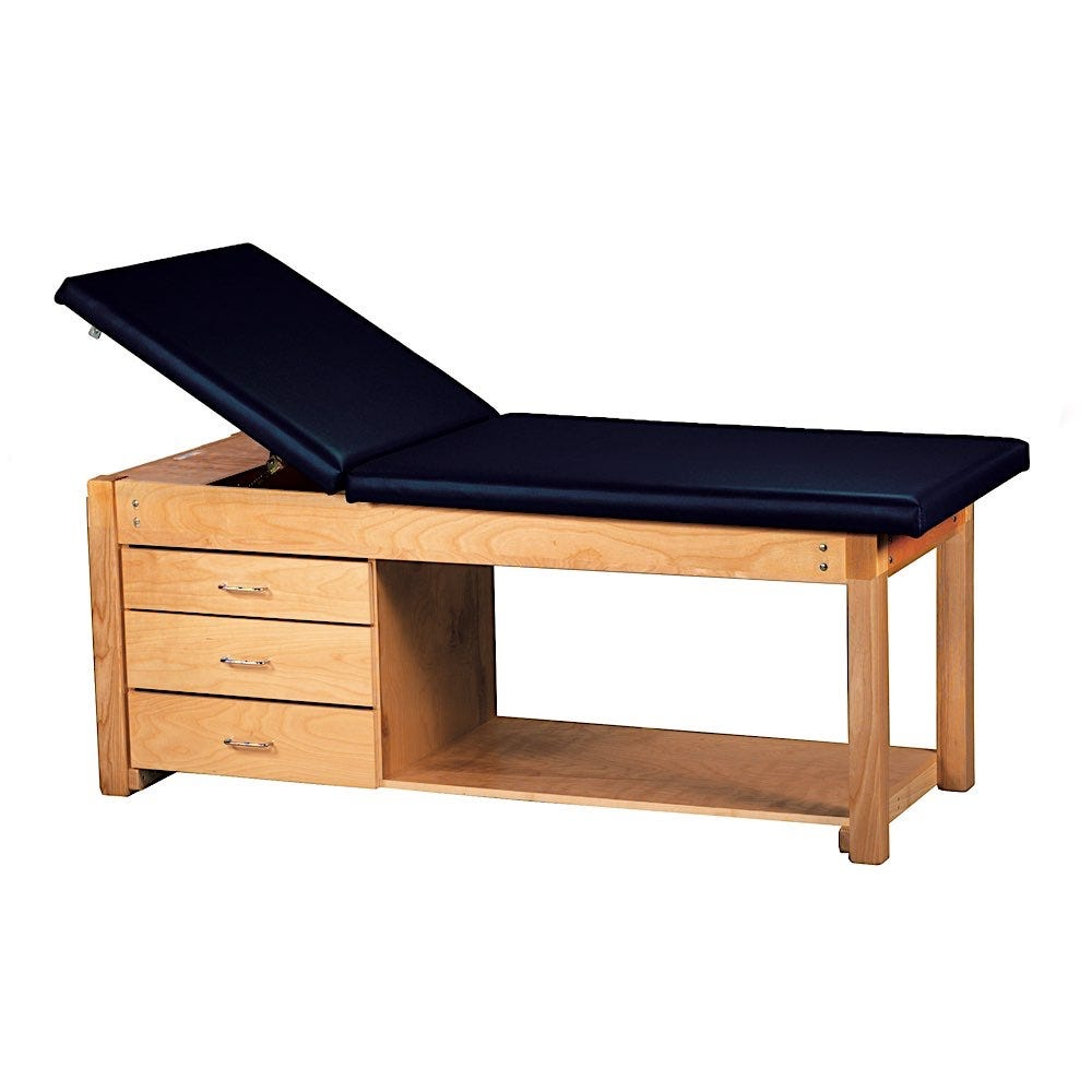 """S Deluxe Treatment Table with Three 20""""W Drawers on Nylon Rollers with Positive Stops and Backrest"""