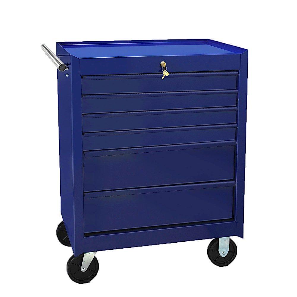 6 Drawer Value Key Lock Medical Cart - Dark Blue