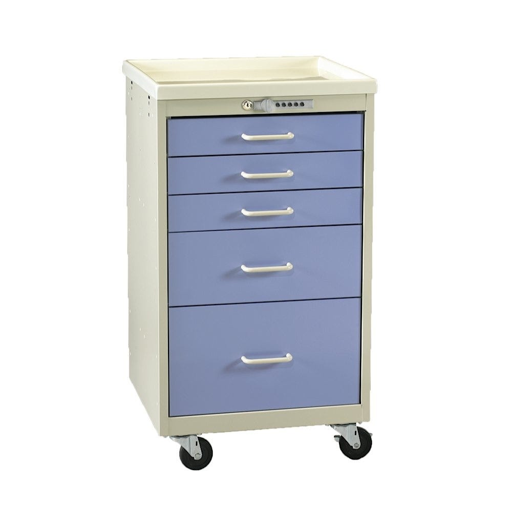 Five-Drawer Mini Tower Isolation Cart With Push-Button Lock