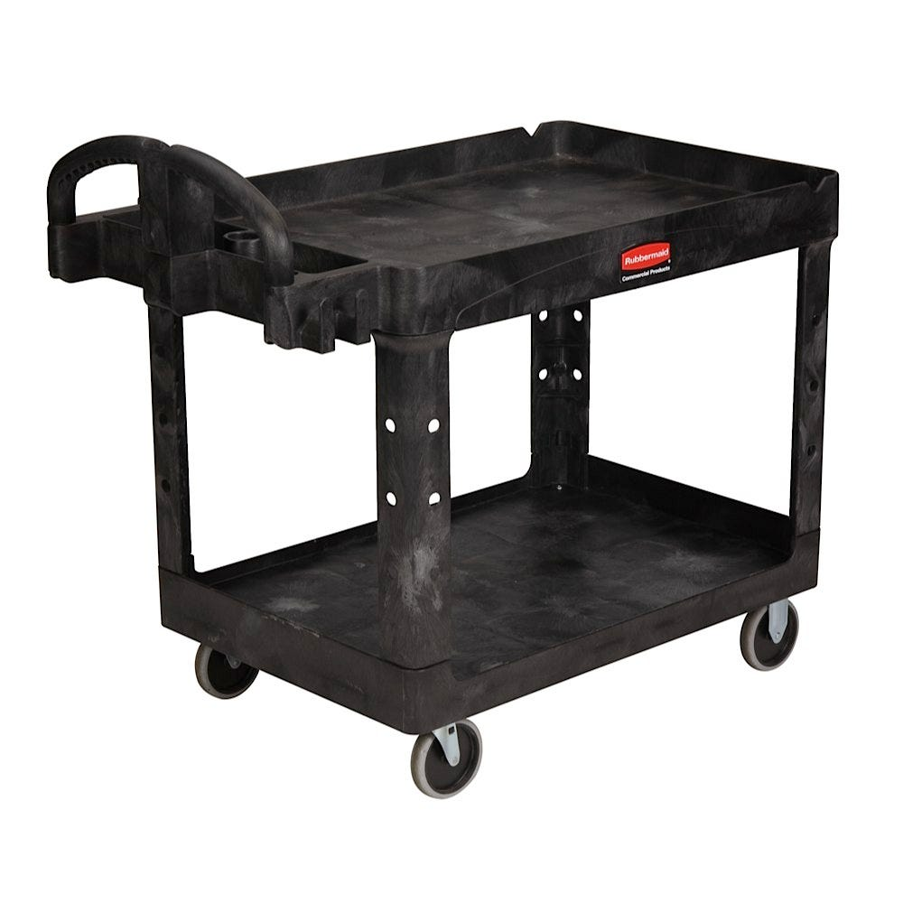 Rubbermaid Heavy Duty Utility Cart with Tray Top, Black