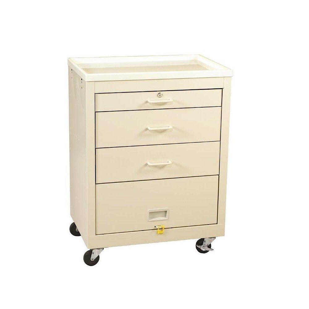 3-Drawer Cart with Top Drawer Key Lock, Beige