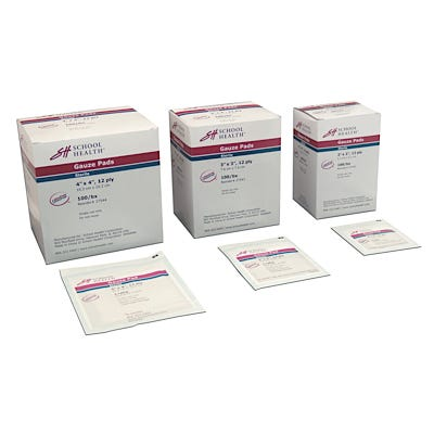 "School Health Sterile Gauze Pads 3"" x 3"", 12-ply, 100/box"