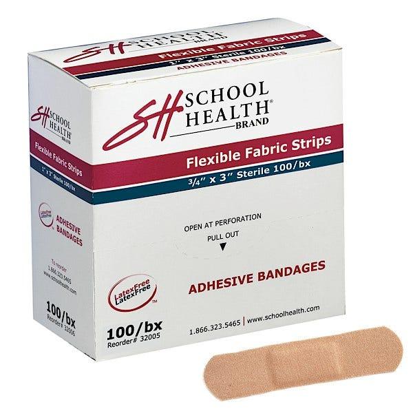 "School Health Adhesive Bandages, Flexible Fabric, 3/4"" x 3"" - 2400/case"