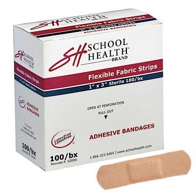 "School Health Adhesive Bandages, Flexible Fabric, 1"" x 3"" - 2400/case"
