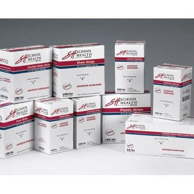 "School Health Adhesive Bandages, Plastic, 1"" x 3"" – 100/Box"