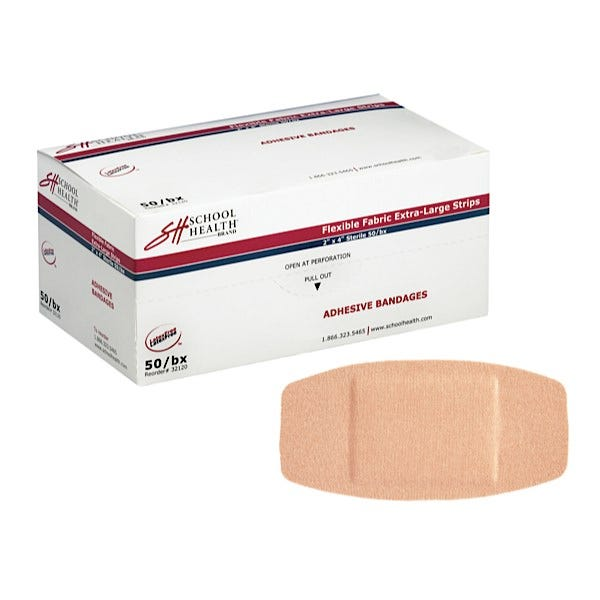 "School Health Adhesive Bandages, Extra-Large Flexible Fabric, 2"" X 4""  50/Box"