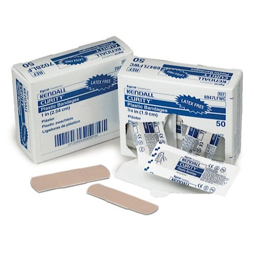 Kendall Curity Brand Adhesive Strips, Plastic Latex-Free