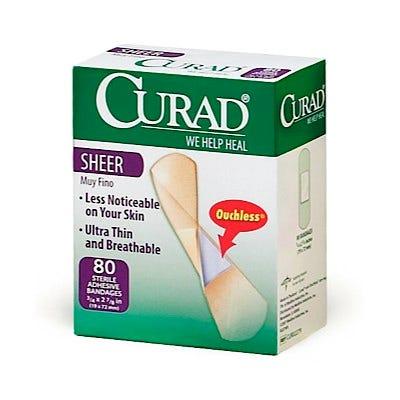 School Health Curad Sheer Adhesive Bandages 3 4 X 3 80 Box