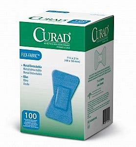 "CURAD Food Service Blue Fabric Adhesive Bandages, 3/4"" x 3"""