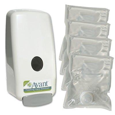 Avant Foaming Fragrance-Free Instant Hand Sanitizer Package - (4) 1,000 ml Avant refills and a dispenser