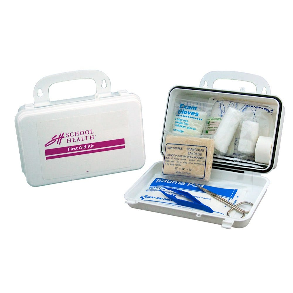 School Health 10-Person Plastic, 62-Piece Bulk First-Aid Kit
