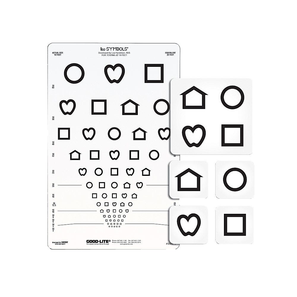 """LEA Symbols 10 Foot Unbreakable 9"""" x 14"""" Translucent Acuity Cards"""
