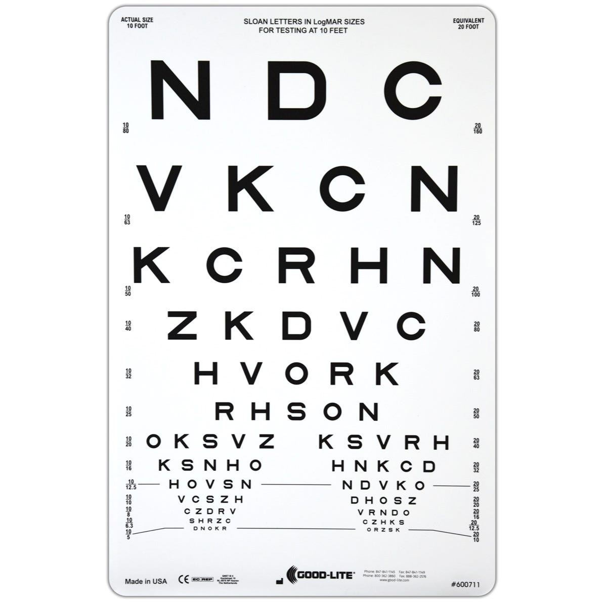 """Sloan Letters Proportionally Spaced 9"""" x 14"""" 10 Ft. Distance Chart"""