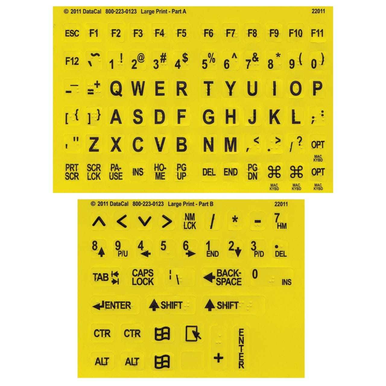 Large Print Braille Keyboard Labels Black on Yellow