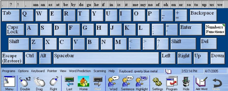 REACH Interface Author On-screen Keyboard