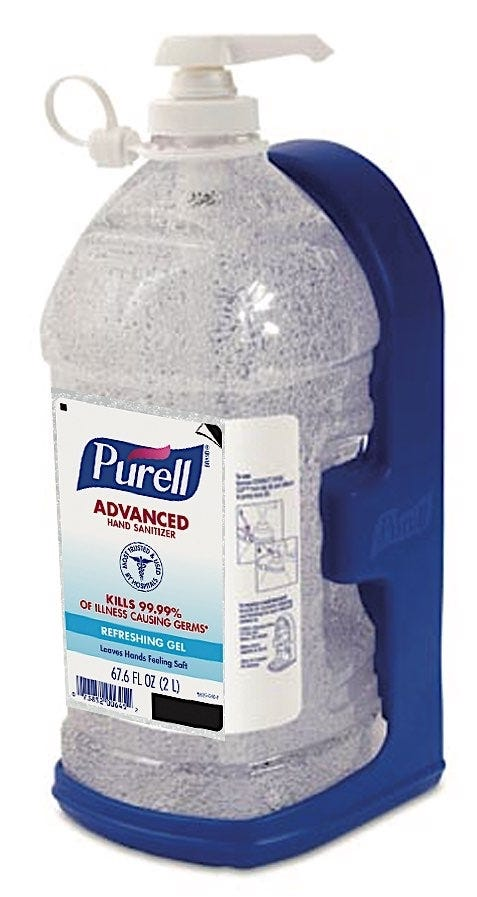 Purell Advanced Hand Sanitizer, Economy Size 2L Pump Bottle and Wall Bracket
