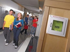 AED in wall cabinet