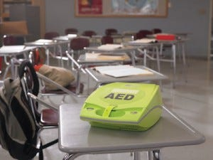 AED on student desk